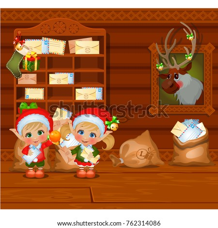 Inside the old cozy wooden village house. Home furnishing. Santa's helpers read letters. Sketch of C Stock photo © Lady-Luck