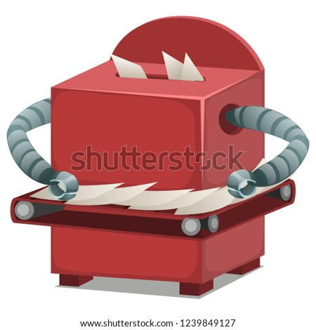 Paper sorting robot isolated on white background. Vector cartoon close-up illustration. Stock photo © Lady-Luck