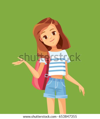 Girl, Child, Kid, Teen Vector. Cheerful Pupil. Face Emotions, Various Gestures. Animation Creation S Stock photo © pikepicture