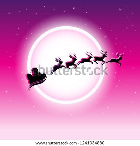 シルエット · 実例 · 飛行 · サンタクロース · クリスマス · トナカイ - ストックフォト © cidepix