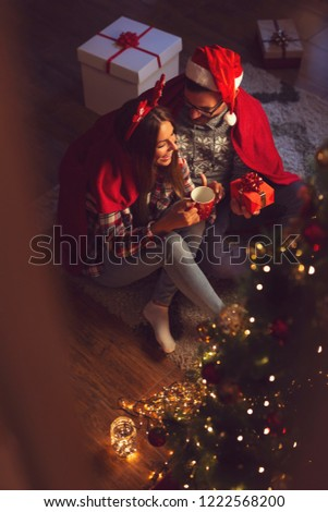 Image of two nice women covered with blanket holding cups with h Stock photo © deandrobot