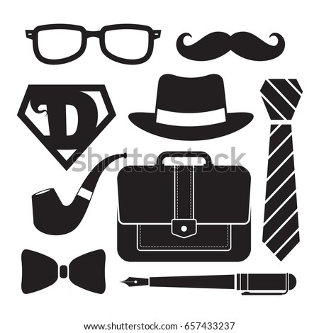 Happy Father s Day Vector. Moustache, Bow Tie. Vintage Style Greeting Card Design. Realistic Illustr Stock photo © pikepicture