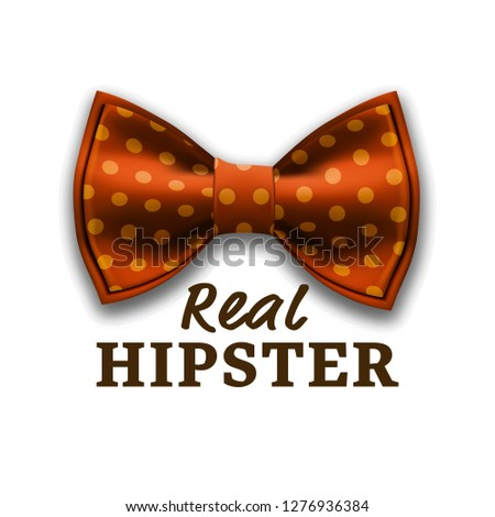 Real Hipster Label Vector. Bow Tie. Modern Invite, Flyer. Realistic Illustration Stock photo © pikepicture