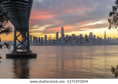 Photo stock: Pont · hiver · coucher · du · soleil · San · Francisco · Skyline · île