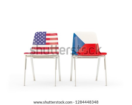 Two chairs with flags of US and czech republic isolated on white Stock photo © MikhailMishchenko