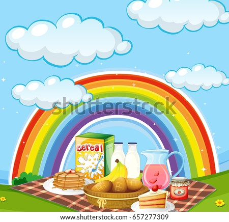 different types of breakfast in the field with rainbow in backgr stock photo © colematt