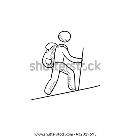 Hiker with backpack and walking stick hand drawn outline doodle icon. Stock photo © RAStudio