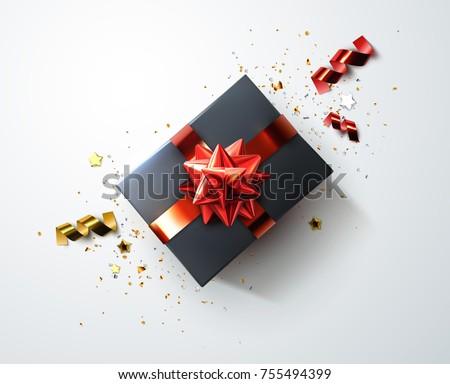 Negro caja de regalo dorado arco cinta superior Foto stock © olehsvetiukha