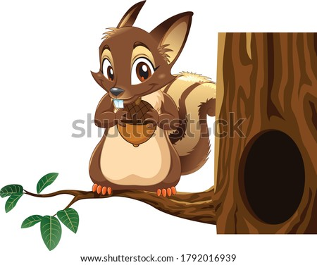 cute animated fluffy squirrel and nut isolated on white background vector cartoon close up illustra stock photo © lady-luck
