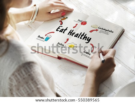 notebook with a diet plan with fresh vegetables and fruits on th Stock photo © mizar_21984