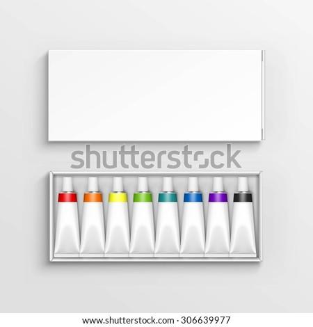 Azul caja de cartón colorido amarillo pintado huevos de Pascua Foto stock © artjazz