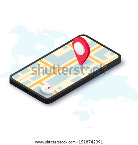 GPS navigation service with compass vector concept. 3D road map  Stock photo © kyryloff