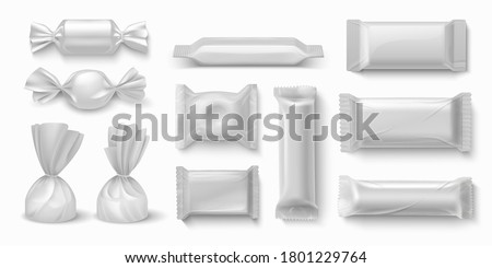Plastic Candy Vector. Transparent Caramel Chocolate Candy Wrap. Empty Product Polyethylene Mock Up T Stock photo © pikepicture