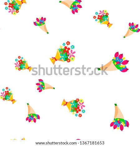 Stockfoto: Bouquet Of Flowers Seamless Pattern Vector. Floal Cute Graphic Texture. Textile Backdrop. Cartoon Co
