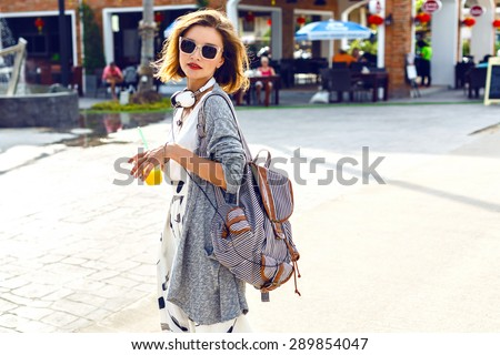 zonnige · lifestyle · mode · portret · jonge · stijlvol - stockfoto © ElenaBatkova