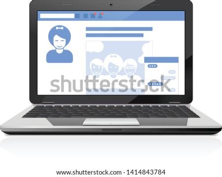 社会 公共 プロファイル 社会的ネットワーク ノートパソコン ストックフォト © Winner