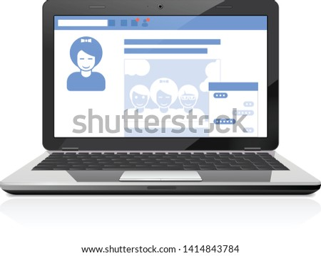 Stockfoto: Sociale · openbare · profiel · pagina · laptop