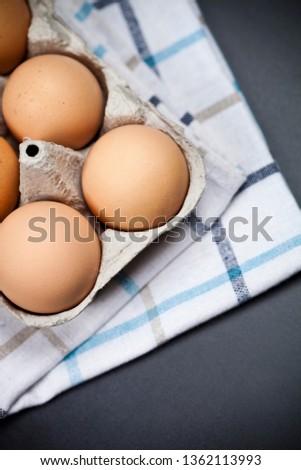 新鮮な オーガニック 卵 リネン タオル ストックフォト © marylooo