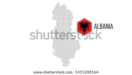 Halftone hexagonal Albania Map with hexagonal flag. Vector geographical map on a white background. V Stock photo © kyryloff