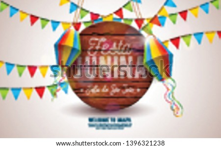 festa junina illustration with party flags and typography letter on blue cloudy sky background vect stock photo © articular
