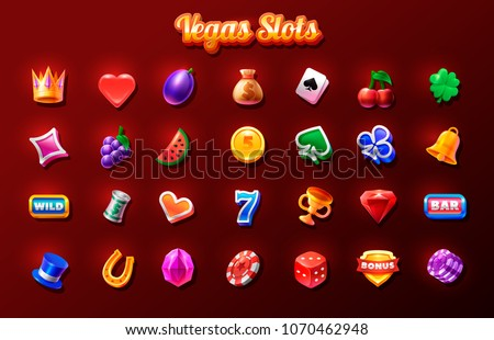 colorful slots icon set for casino slot machine gambling games icons for mobile arcade and puzzle stock photo © marysan