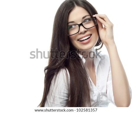 Beauty sexy fashion model girl wearing glasses, isolated on white background. Beautiful young brunet stock photo © serdechny