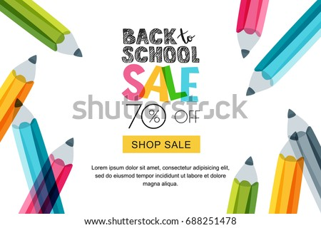 back to school sale doodles horizontal background vector illustration for banners invitation poster stock photo © ikopylov