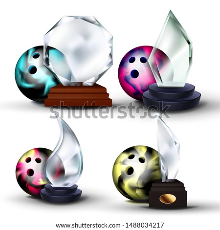 bowling game award set vector bowling ball glass trophy modern bowling tournament design for spo stock photo © pikepicture