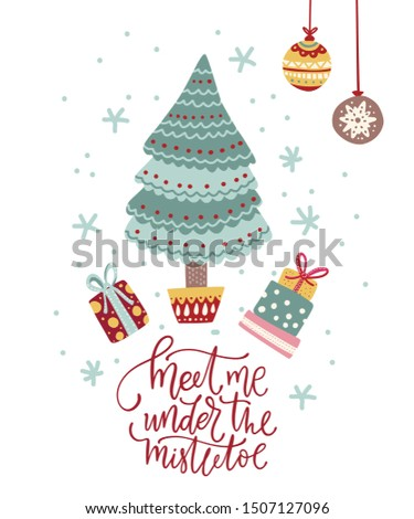 Natale · elegante · carta · vischio · arco · illustrazione - foto d'archivio © ussr