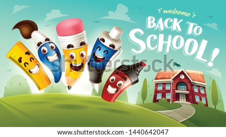 Happy Kid and cartoon house back to school concept Vector. Cartoon characters illustrations Stock photo © frimufilms
