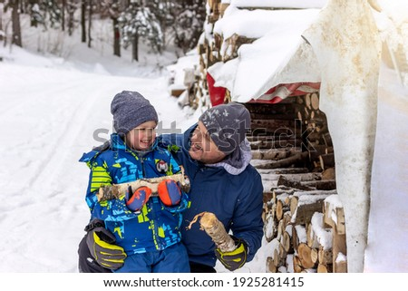 Father And Son Collecting Logs From Wooden Store In Snow Stock photo © monkey_business