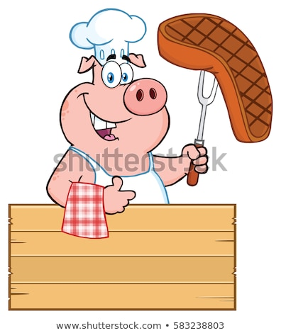 Steak mascotte dessinée personnage isolé Photo stock © hittoon