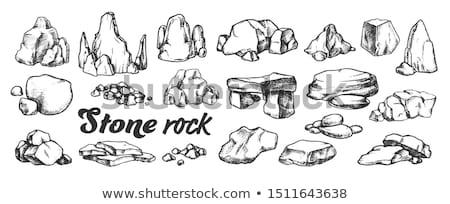 Pedra rocha cascalho coleção monocromático conjunto Foto stock © pikepicture
