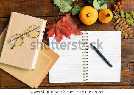 Open copybook with pen, books with eyeglasses, pumpkins and autumn leaves Stock photo © pressmaster