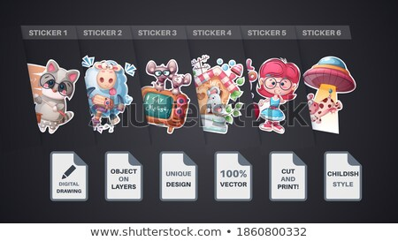 Set cartoon animals poster and merchandising. Stock photo © rwgusev