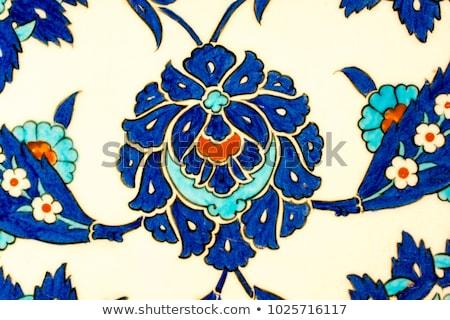 velho · floral · cerâmico · telha · palácio · Tailândia - foto stock © boggy