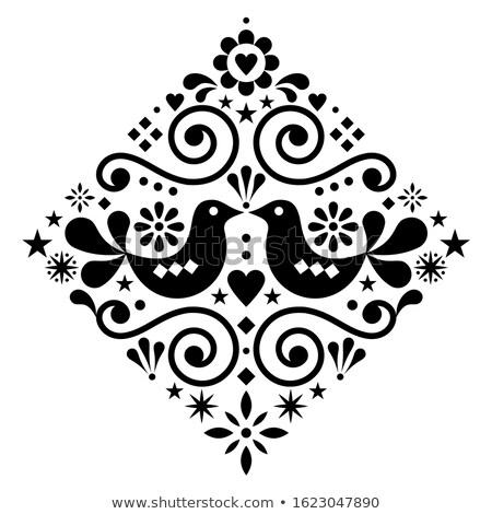 Scandinavian floral folk art vector design square or diamon shape, cute Nordic pattern with birds in Stock photo © RedKoala