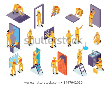 Vector isometric worker plastering wall Stock photo © tele52