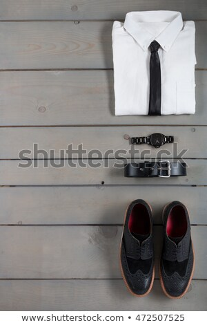 Zakenman werk grijs houten witte shirt Stockfoto © Illia