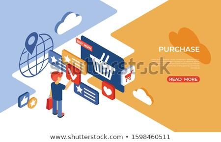 Comprar loja on-line isométrica ícones digital vetor Foto stock © frimufilms