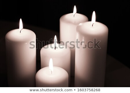 Aromatic white jasmin candles set at night, Christmas, New Years Stock photo © Anneleven