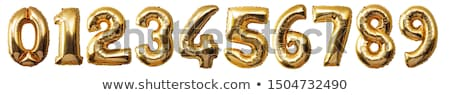 Gold foil balloon number isolated background set Stock photo © cienpies