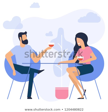 Man and Woman Sitting with Coffee in Cafe Vector Stock photo © robuart