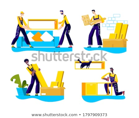 Furniture Relocation, Workers Installing Vector Stock photo © robuart