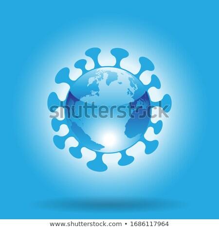 Stock photo: Globe Shaped Blue Glossy Coronavirus Icon on a Blue Background