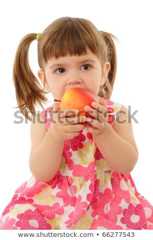 Aranyos kicsi óvodás lány eszik alma Stock fotó © Lopolo