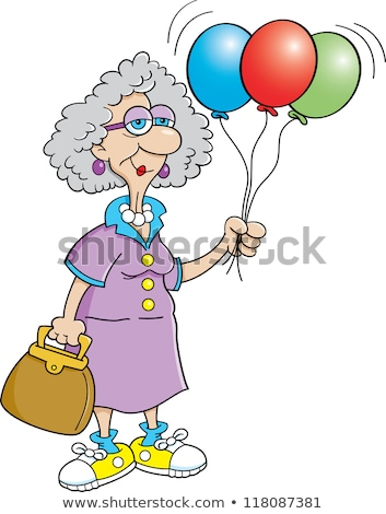 Idős személy hölgy tart léggömbök rajz illusztráció Stock fotó © bennerdesign