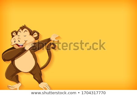 Background template with plain color and cute monkey Stock photo © bluering