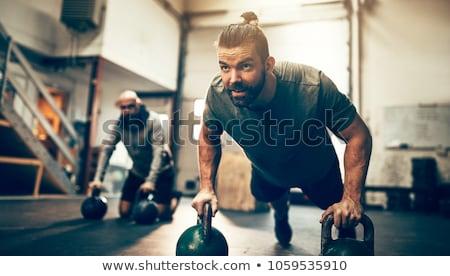 圖像 年輕 男子 行使 商業照片 © deandrobot