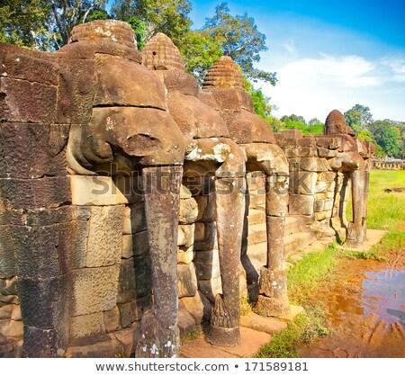 Terasz elefántok Angkor Wat szobor fal templom Stock fotó © bloodua